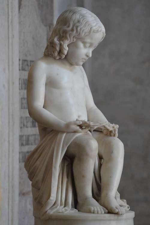 Statue Child Boy Marble Sitting Knees Crown