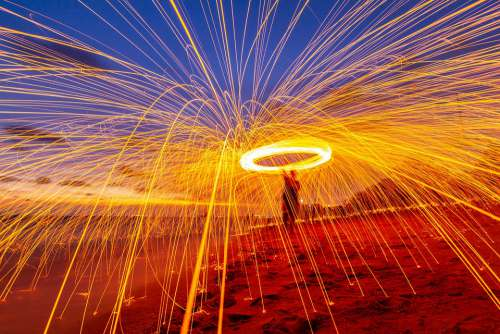 Steel Wool On The Rock And Beach