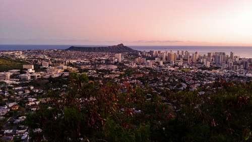 Sunset Honolulu Mountain Hawaii Landscape Sky