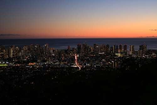 Sunset Citynight Honolulu Hawaii Landscape Sky