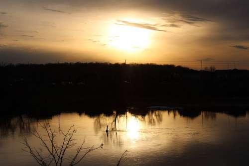 Sunset Sun River Reflection Landscape Sky Mood