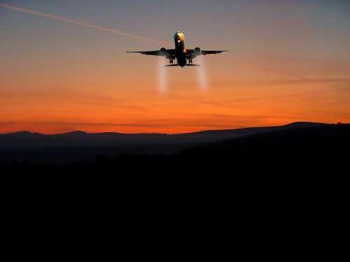 Sunset Aircraft Sky Travel Sun Transport Nature