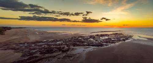 Sunset Lee Point Beach Darwin Australia Coastline