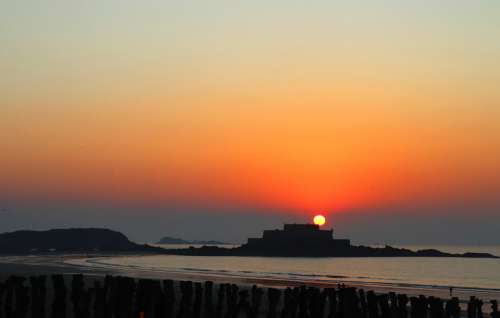 Sunset Saint Malo Brittany France The Night Spring