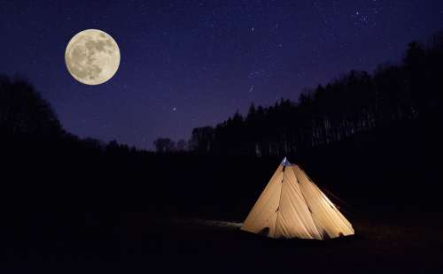 Tent Month Night Camping Adventure Nature