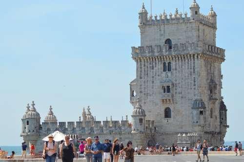 Tower Sky Blue Tourists Portugal Beléem