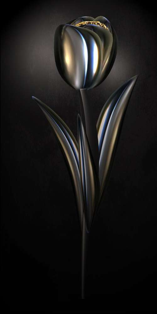 Tulip Chrome Metallic Gloss Shiny Flower Digital