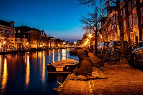 Water Channel Netherlands Boat Landscape Rest