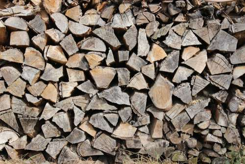 Wood Log Firewood Growing Stock Heat Stacked Up
