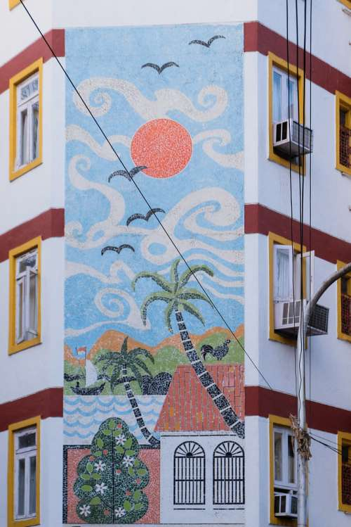 Beautiful Painting of a Sunny Day on a Building