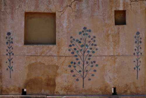 Mural of Plants on a Cracked Wall