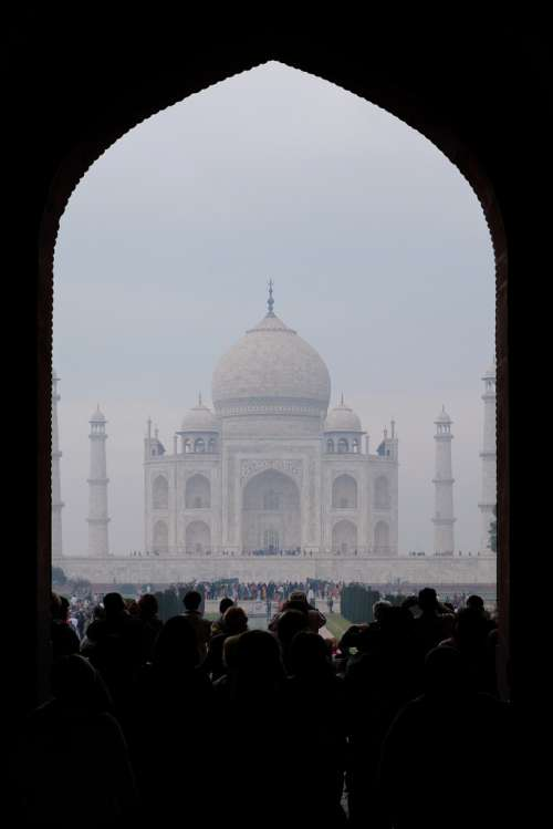 View From the Entrance of Taj Mahal on a Foggy Morning