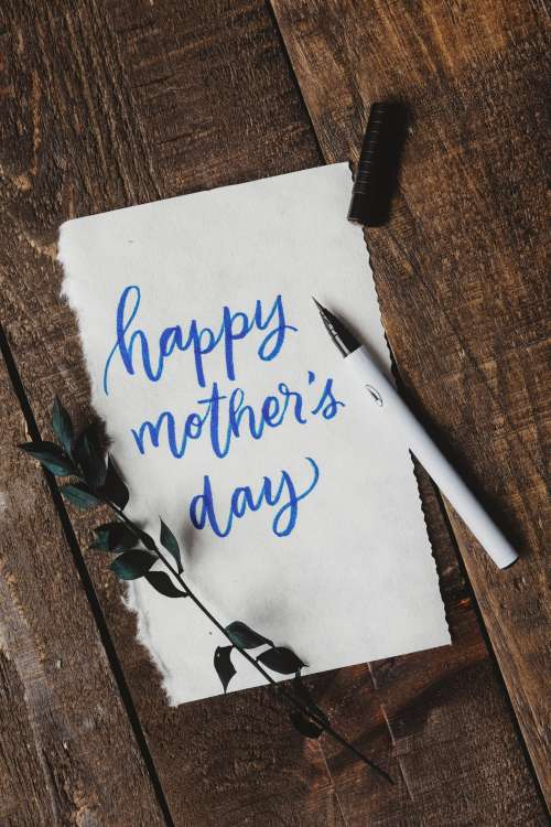 Cursive Handwriting Wishing A Happy Mother's Day Photo
