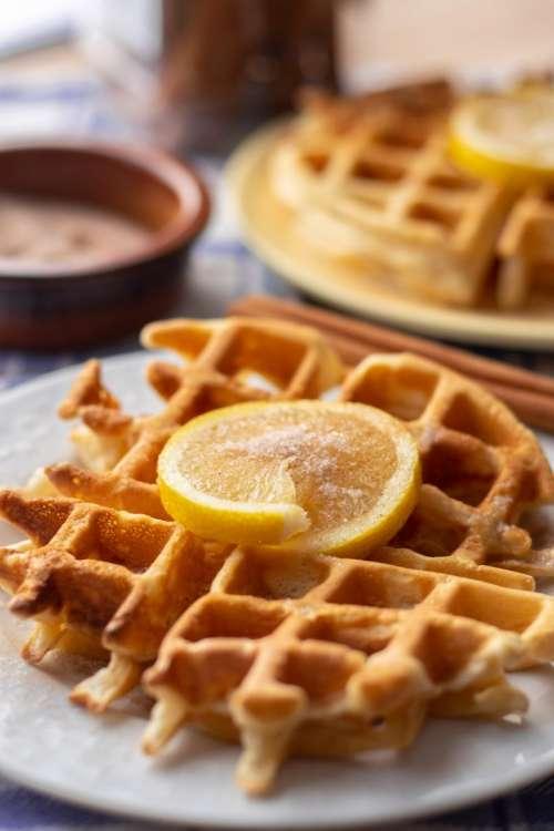 Plain waffles and lemon