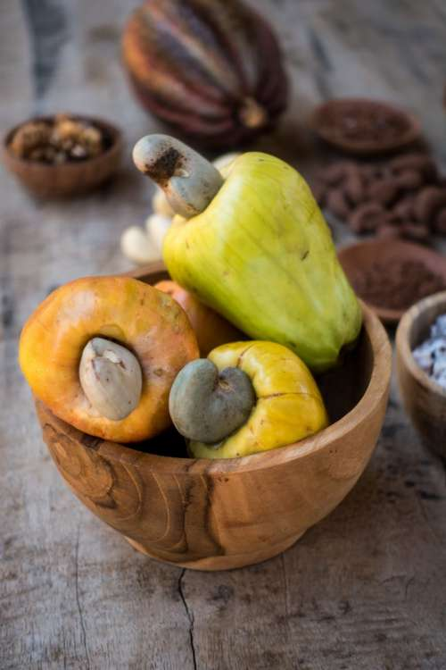 Raw cashew nuts fruit close up