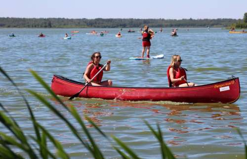 Girls in canoe