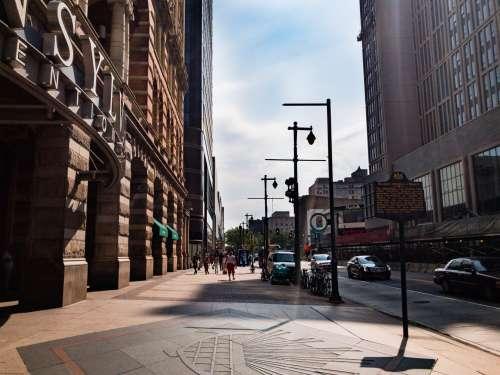 City Sidewalk and Buildings