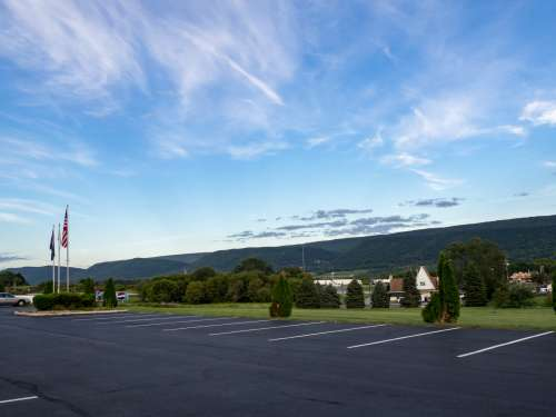 Parking Lot and Mountains
