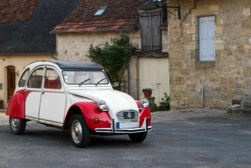 French car   vintage funny funky   red  white
