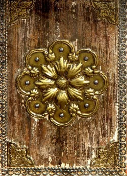 wood metal round brown gold
