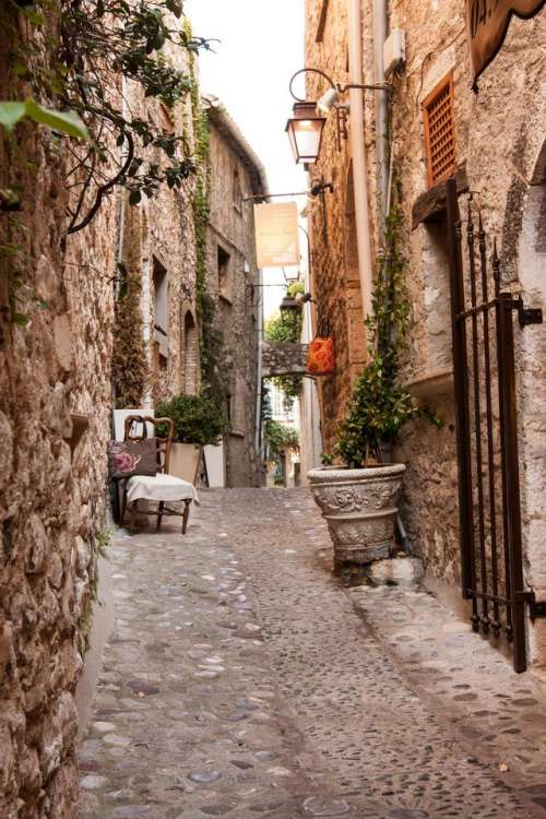 alley ancient cobblestone building photography
