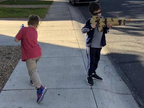guns playing boys kids children