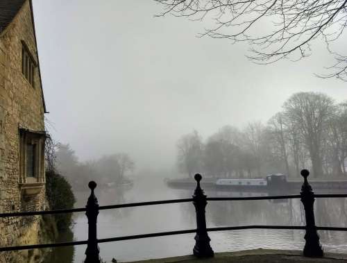 foggy morning river side thames uncertainty