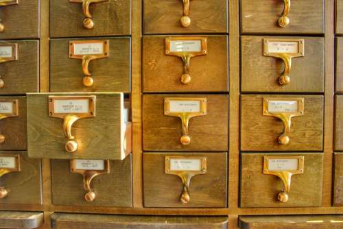 library catalog cards card catalog drawers