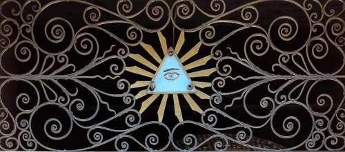 metal triangle eye blue pattern