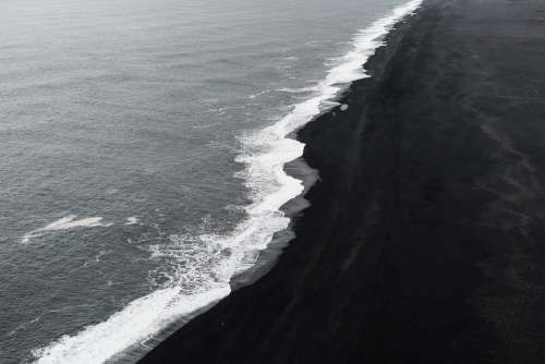 Black Beach Shoreline on Iceland