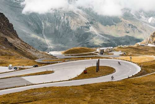 Cyclists on Grossglockner Mountain Road, Austria