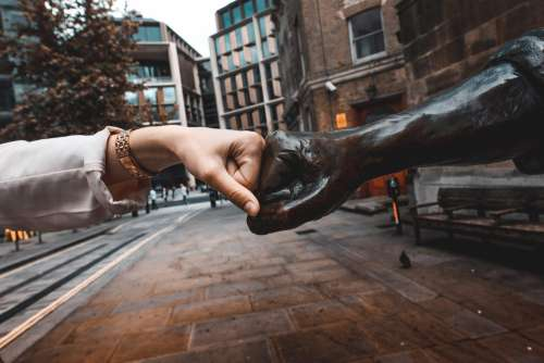 Fist Bump with Cordwainer Statue, London