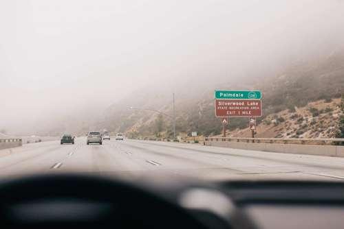Foggy Day on a Freeway in California