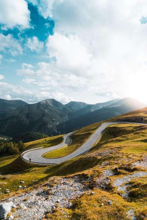 Nockalm High Alpine Mountain Road Hairpin Turn