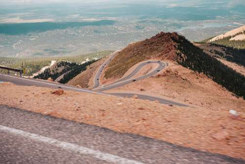 View of the Colorado's Curvy Pikes Peak Road