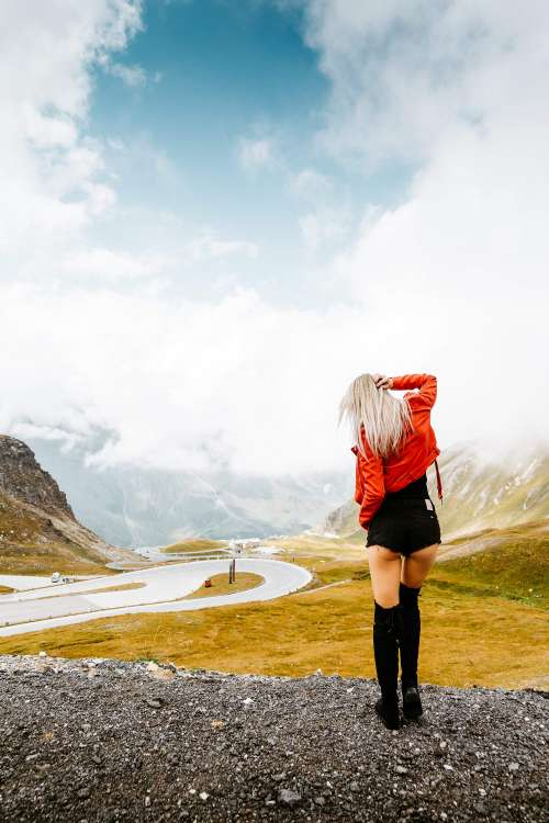 Woman Enjoying Grossglockner High Alpine Road in Austria