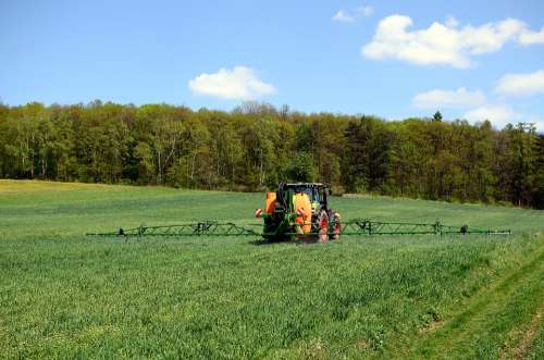 Agriculture Spraying Fields Tractor Village Summer