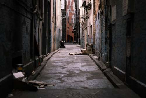 Ally Street Urban City Street Art Rubbish Dark