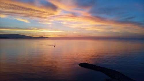 Almuñecar Dawn Beach Sky Landscape Ocean Peaceful