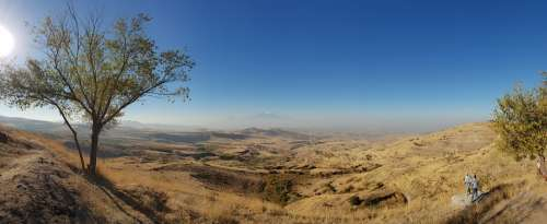 Ararat Armenia Landscape Mountains Sky Panorama