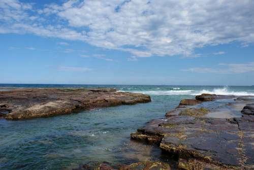 Australia Coast Nsw Rocks Coastline Holiday Sunny