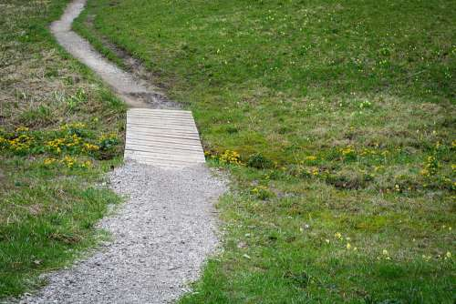 Away Trail Bridge Meadow Nature Landscape Hiking