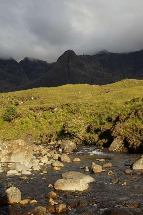 Bach Water Landscape Scotland Isle Of Skye Skye