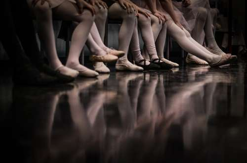 Ballet Girls Feet Floor Reflection Dance