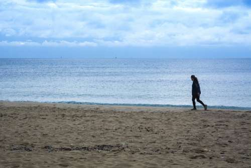 Beach Loneliness Walk Path Trail Winter Women
