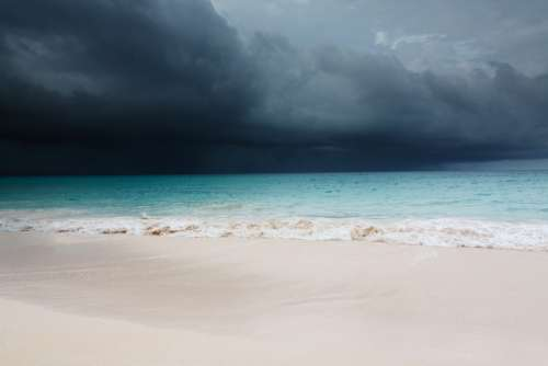 Beach Blue Caribbean Clouds Cloudscape Dark