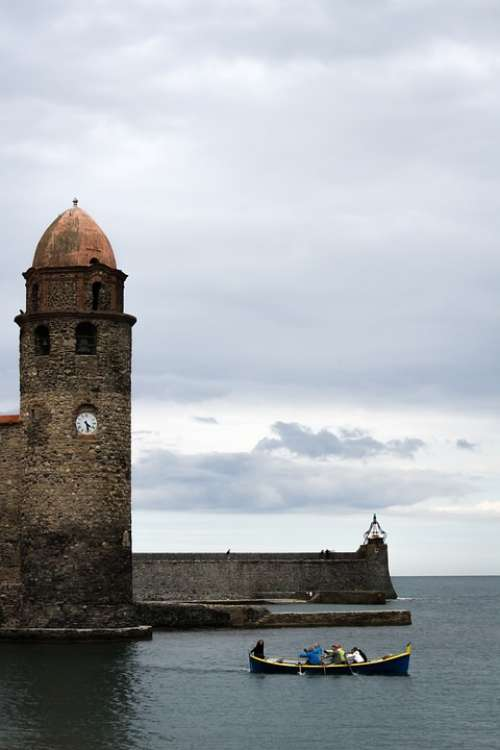 Beacon Light Collioure France Cloudy