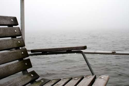 Bench A Jetty Fog Lake Fjord Water Misty