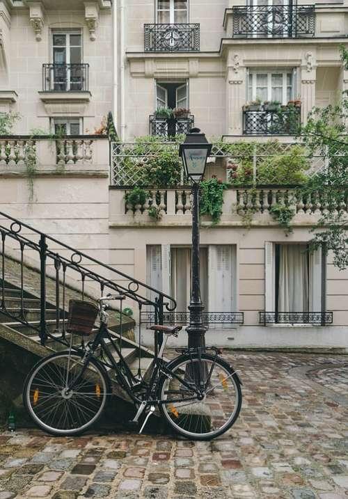 Bicycle Building City Cobblestone Street Exterior