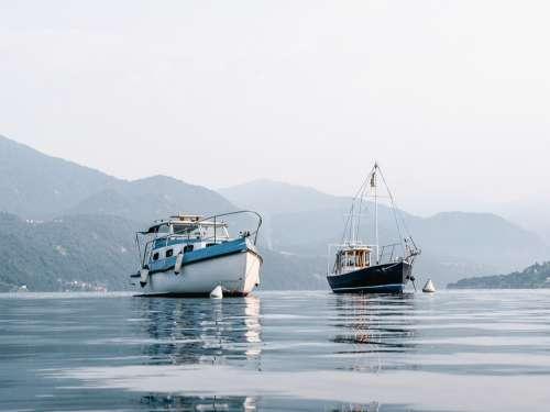 Boat Fishing Lake Mountain Italy Sea Calm Blue